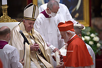 Cardinal Celestino Aós Braco .Pope Francis leads a consistory for the creation of five new cardinals  at St Peter's basilica in Vatican.28 november 2020