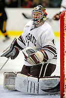 2 January 2009: Colgate Raiders' goaltender Alex Evin, a Freshman from Castlegar, B.C., in action against the University of Vermont Catamounts during the second game of the 2009 Catamount Cup Ice Hockey Tournament hosted by the University of Vermont at Gutterson Fieldhouse in Burlington, Vermont. The Catamounts defeated the Raiders 6-4 to move onto the championship game against the St. Lawrence Saints...Mandatory Photo Credit: Ed Wolfstein Photo