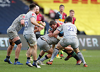 20th February 2021; Twickenham Stoop, London, England; English Premiership Rugby, Harlequins versus Sale Sharks; Wilco Louw of Harlequins is tackled by Curtis Langdon of Sale Sharks