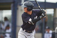 GCL Yankees West left fielder Dario Unda (9) at bat during the first game of a doubleheader against the GCL Yankees East on July 19, 2017 at the Yankees Minor League Complex in Tampa, Florida.  GCL Yankees West defeated the GCL Yankees East 11-2.  (Mike Janes/Four Seam Images)