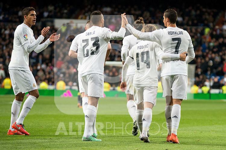 Real Madrid's Danilo da Silva, Luka Modric and Cristiano Ronaldo during La Liga match. March 20,2016. (ALTERPHOTOS/Borja B.Hojas)