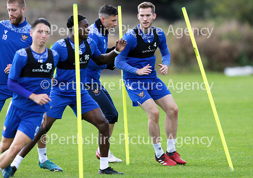 St Johnstone Training….McDiarmid Park, Perth.<br />Jamie McCart pictured with Michael O'Halloran, Tanto Olaofe, Danny McNamara and Shaun Rooney during training ahead of Saturday's game at Motherwell.<br />Picture by Graeme Hart.<br />Copyright Perthshire Picture Agency<br />Tel: 01738 623350  Mobile: 07990 594431
