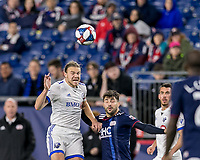 Foxborough, Massachusetts - April 24, 2019: In a Major League Soccer (MLS) match, Montreal Impact (white) defeated New England Revolution (blue/white), 3-0, at Gillette Stadium.