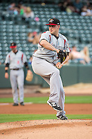 Aaron Laffey (34) of the Albuquerque Isotopes during the game against the Salt Lake Bees in Pacific Coast League action at Smith's Ballpark on June 8, 2015 in Salt Lake City, Utah.  The Isotopes defeated the Bees 8-7 in game two of a double-header. (Stephen Smith/Four Seam Images)