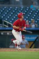 Palm Beach Cardinals Nolan Gorman (18) hits a double during a Florida State League game against the Clearwater Threshers on August 10, 2019 at Roger Dean Chevrolet Stadium in Jupiter, Florida.  Clearwater defeated Palm Beach 11-4.  (Mike Janes/Four Seam Images)