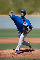 Chicago Cubs starting pitcher Oscar De La Cruz (37) during a Minor League Spring Training game against the Oakland Athletics at Sloan Park on March 19, 2018 in Mesa, Arizona. (Zachary Lucy/Four Seam Images)
