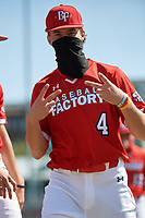 Bubba Chandler (4) gestures to the camera before the Baseball Factory All-Star Classic at Dr. Pepper Ballpark on October 4, 2020 in Frisco, Texas.  Bubba Chandler (4), a resident of Bogart, Georgia, attends North Oconee High School.  (Mike Augustin/Four Seam Images)