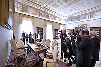 Pope Francis meets President of Macedonia's Parliament Trajko Veljanoski , Vatican, Italy - 16 May 2016