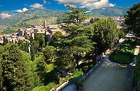 View of the Renaissance gardens of Villa d'Este, Tivoli, Italy