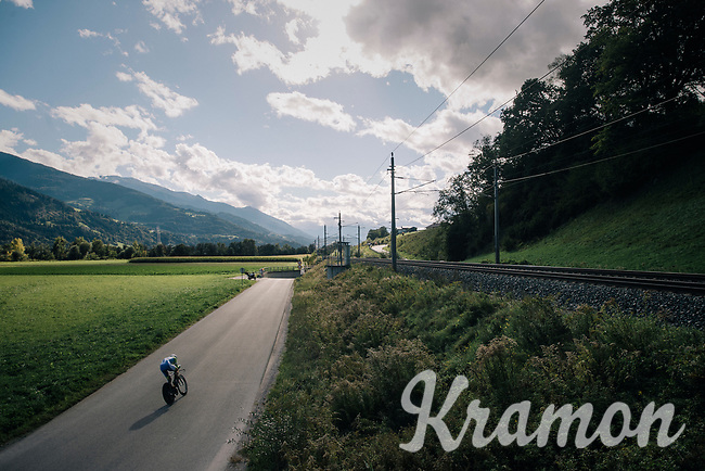 loneliness of a TT rider along the way<br /> <br /> MEN UNDER 23 INDIVIDUAL TIME TRIAL<br /> Hall-Wattens to Innsbruck: 27.8 km<br /> <br /> UCI 2018 Road World Championships<br /> Innsbruck - Tirol / Austria