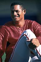 Bobby Abreu of the Philadelphia Phillies during a 2000 season MLB game at Dodger Stadium in Los Angeles, California. (Larry Goren/Four Seam Images)