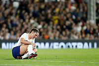 Abbie McManus of England Women struggles with an injury during the Women's international friendly match between England Women and Australia at Craven Cottage, London, England on 9 October 2018. Photo by Carlton Myrie / PRiME Media Images.