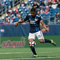 Foxborough, Massachusetts - March 30, 2019: In a Major League Soccer (MLS) match, New England Revolution (blue/white) defeated Minnesota United FC (white), 2-1, at Gillette Stadium.
