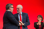 © Joel Goodman - 07973 332324 . 27/09/2016 . Liverpool , UK . TOM WATSON shakes hands with JEREMY CORBYN after delivering the deputy leader's speech on the third day of the Labour Party Conference . Photo credit : Joel Goodman
