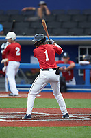 Haden Youngblood (1) of T C Roberson High School in Fletcher, NC during the Atlantic Coast Prospect Showcase hosted by Perfect Game at Truist Point on August 22, 2020 in High Point, NC. (Brian Westerholt/Four Seam Images)