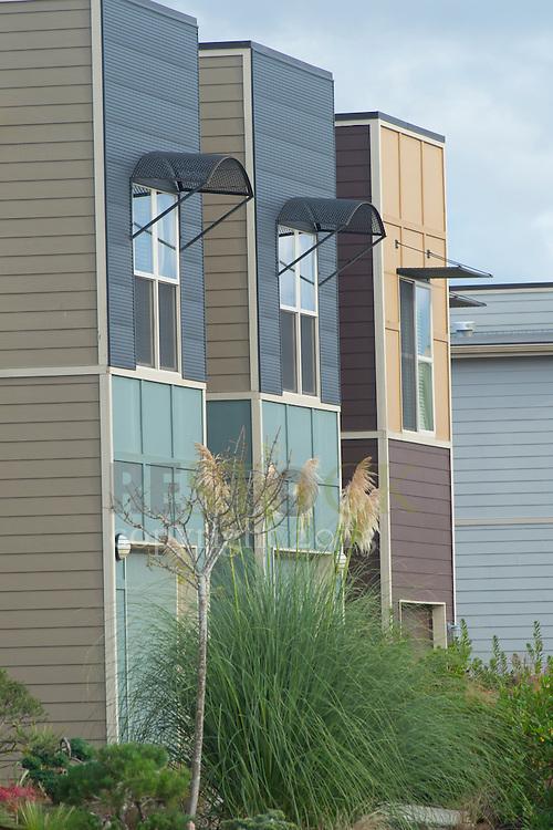 Back of Three Modern Homes