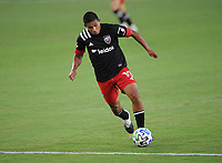 WASHINGTON, DC - AUGUST 25: Edison Flores #10 of D.C. United moves the ball during a game between New England Revolution and D.C. United at Audi Field on August 25, 2020 in Washington, DC.
