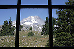 """Mount Hood through window at Timberline Lodge Oregon, Mt. Hood, Mt. Hood through window, Oregon, Pacific Ocean, Plains, woods, mountains, rain forest, desert, rain, Pacific Northwest, Fine art Photography and Stock Photography by Ronald T. Bennett Photography ©, FINE ART and STOCK PHOTOGRAPHY FOR SALE, CLICK ON  """"ADD TO CART"""" FOR PRICING,"""