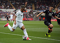 Jordan Ayew of Swansea City crosses the ball for Fernando Llorente of Swansea City to score during the Premier League match between Swansea City and Everton at The Liberty Stadium, Swansea, Wales, UK. Saturday 06 May 2017