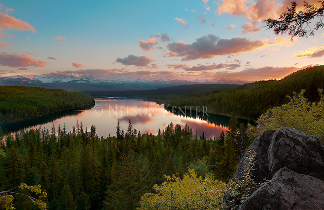 View of Holland Lake and Mission Mountains from Holland Falls trail in the Seeley - Swan Valley in western Montana
