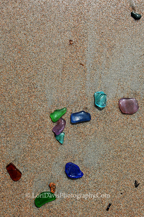 Sea Glass Collection on Beach  #N54