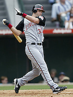 Russell Branyan of the Cincinnati Reds bats during a 2002 MLB season game against the Los Angeles Angels at Angel Stadium, in Anaheim, California. (Larry Goren/Four Seam Images)