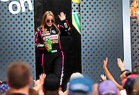Oct 6, 2013; Mohnton, PA, USA; NHRA top fuel dragster driver Brittany Force during the Auto Plus Nationals at Maple Grove Raceway. Mandatory Credit: Mark J. Rebilas-