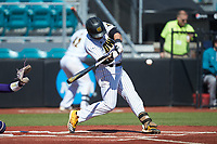 Justin Russell (4) of the Kennesaw State Owls at bat against the Western Carolina Catamounts at Springs Brooks Stadium on February 22, 2020 in Conway, South Carolina. The Owls defeated the Catamounts 12-0.  (Brian Westerholt/Four Seam Images)
