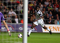 Saturday 28 September 2013<br /> Pictured:  Wilfried Bony of Swansea shoots off target.<br /> Re: Barclay's Premier League, Swansea City FC v Arsenal at the Liberty Stadium, south Wales.