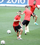 Atletico de Madrid's Luciano Vietto, Antoine Griezmann and Jesus Gamez during Champions League 2015/2016 training session. May 27,2016. (ALTERPHOTOS/Acero)