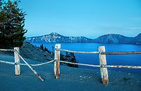 An evening twilight view of Crater Lake National Park, Oregon at the end of September.