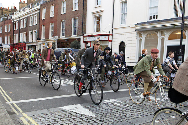 Fredrik Ferrier and Francis Boulle from Made in Chelsea ride their bicycles on The Tweed Run