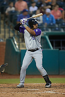Luis Curbelo (16) of the Winston-Salem Dash at bat against the Greensboro Grasshoppers at First National Bank Field on June 3, 2021 in Greensboro, North Carolina. (Brian Westerholt/Four Seam Images)