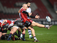 12th February 2021; Kingsholm Stadium, Gloucester, Gloucestershire, England; English Premiership Rugby, Gloucester versus Bristol Bears; Willi Heinz of Gloucester kicks from a ruck