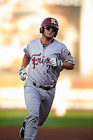 Frisco RoughRiders first baseman Trever Adams (29) runs the bases after hitting a home run during a game against the Springfield Cardinals  on June 4, 2015 at Hammons Field in Springfield, Missouri.  Frisco defeated Springfield 8-7.  (Mike Janes/Four Seam Images)