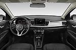 Stock photo of straight dashboard view of 2021 KIA Rio S 4 Door Sedan Dashboard