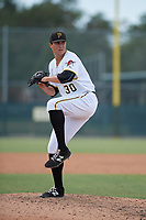 Pittsburgh Pirates pitcher Geoff Hartlieb (30) delivers a pitch during an Instructional League game against the Detroit Tigers on October 6, 2017 at Pirate City in Bradenton, Florida.  (Mike Janes/Four Seam Images)