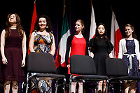 Stage III performers take the stage during the awards ceremony of the 11th USA International Harp Competition at Indiana University in Bloomington, Indiana on Saturday, July 13, 2019. Pictured from left are: Woojin Lee, Myriam Blardone, Miriam Ruf, Se Hee Hwang and Marika Cecilia Riedl. (Photo by James Brosher)
