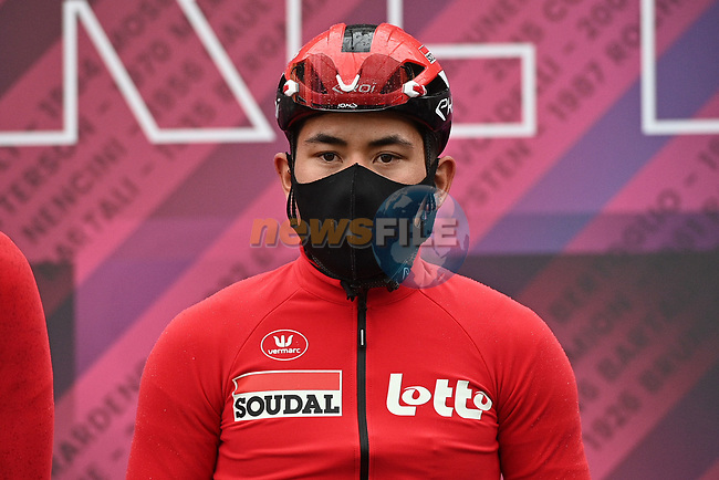 Caleb Ewan (AUS) Lotto-Soudal at sign on before the start of Stage 3 of the 2021 Giro d'Italia, running 190km from Biella to Canale, Italy. 10th May 2021.  <br /> Picture: LaPresse/Gian Mattia D'Alberto | Cyclefile<br /> <br /> All photos usage must carry mandatory copyright credit (© Cyclefile | LaPresse/Gian Mattia D'Alberto)