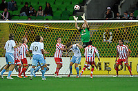 MELBOURNE, AUSTRALIA - FEBRUARY 12: Clint Bolton of the Heart makes a save in the round 27 A-League match between the Melbourne Heart and Sydney FC at AAMI Park on February 12, 2011 in Melbourne, Australia. (Photo Sydney Low / AsteriskImages.com)