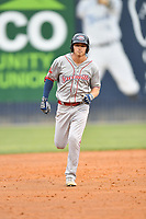 Greenville Drive Tyler Esplin (25) rounds the bases after hitting a home run during a game against the Asheville Tourists on May 18, 2021 at McCormick Field in Asheville, NC. (Tony Farlow/Four Seam Images)