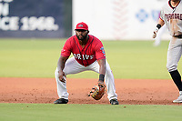 First baseman Tyreque Reed (38) of the Greenville Drive in a game against the Hickory Crawdads on Friday, June 18, 2021, at Fluor Field at the West End in Greenville, South Carolina. (Tom Priddy/Four Seam Images)