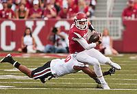 NWA Democrat-Gazette/BEN GOFF @NWABENGOFF<br /> Brandon Allen, Arkansas quarterback, runs the ball in the first quarter on Saturday Sept. 19, 2015 during the game in Razorback Stadium in Fayetteville.