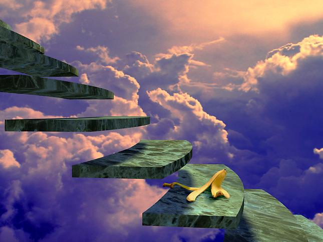 Banana peel on stairs in sky