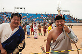 The Mongolian archery contestants share a joke during practice at the International Indigenous Games in Brazil. 28th October 2015