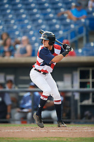 Quad Cities River Bandits designated hitter Jonathan Lacroix (13) at bat during a game against the West Michigan Whitecaps on July 23, 2018 at Modern Woodmen Park in Davenport, Iowa.  Quad Cities defeated West Michigan 7-4.  (Mike Janes/Four Seam Images)