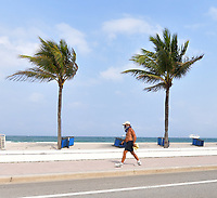 FORT LAUDERDALE, FLORIDA - APRIL 12: Parks and Beaches closed on Easter due to the social distancing rules being enforced to combat the spread of the coronavirus many Easter services around the country had to find a new way to celebrate Easter on April 12, 2020 in Fort Lauderdale, Florida<br /> <br /> People:  Atmosphere