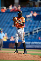 Baltimore Orioles relief pitcher Miguel Castro (50) gets ready to deliver a pitch during a Grapefruit League Spring Training game against the Philadelphia Phillies on February 28, 2019 at Spectrum Field in Clearwater, Florida.  Orioles tied the Phillies 5-5.  (Mike Janes/Four Seam Images)