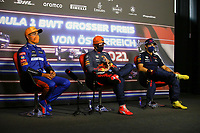 July 3rd 2021; F1 Grand Prix of Austria, qualifying sessions;  VERSTAPPEN Max (ned), Red Bull Racing Honda RB16B, with NORRIS Lando (gbr), McLaren MCL35M and PEREZ Sergio (mex), Red Bull Racing Honda RB16B during the press conference of the  2021 Austrian Grand Prix, 9th round of the 2021 FIA Formula One World Championship -