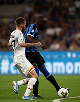Calcio, Serie A: Inter Milano - Lecce, Giuseppe Meazza stadium, September 26 agosto 2019.<br /> Inter's Romelu Lukaku (r) in action with Lecce's Zan Majer (l) during the Italian Serie A football match between Inter and Lecce at Giuseppe Meazza (San Siro) stadium, September August 26,, 2019.<br /> UPDATE IMAGES PRESS/Isabella Bonotto
